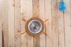 Barometer on a wooden background. Stock Photos