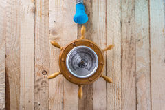Barometer on a wooden background. Stock Images