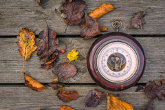 Barometer on wooden planks Royalty Free Stock Images