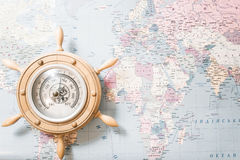 Barometer on world map background royalty free stock photos