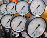 Barometers. In factory royalty free stock image