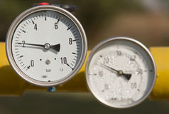 Barometers. In oil and natural gas industry stock image