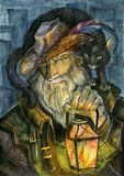 Baron of night intersections. color. The old city dweller with a lamp and a cat walks on the night city stock illustration
