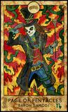 Baron Samedi. Page of pentacles. Fantasy Creatures Tarot full deck. Minor arcana. Hand drawn graphic illustration, engraved colorful painting with occult symbols Royalty Free Stock Photography