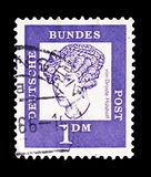 Baroness Annette von Droste-Hülshoff (1797-1848), poet, Distinguished Germans serie, circa 1961. MOSCOW, RUSSIA - SEPTEMBER 15, 2018: A stamp printed in stock image