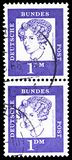 Baroness Annette von Droste-Hulshoff 1797-1848, poet, Famous Germans serie, circa 1961. MOSCOW, RUSSIA - MARCH 30, 2019: Two postage stamps printed in Germany stock photography