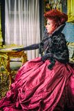 Baroness in baroque salon Royalty Free Stock Photos