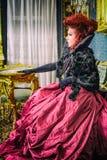 Baroness in baroque salon Royalty Free Stock Photos