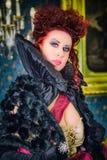 Baroness in baroque salon stock image