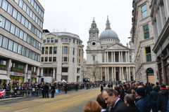 Baroness Thatcher's funeral. London, UK. April 17th, 2013. The crowd waits for Baroness Thatcher funeral procession on Ludgate Hill royalty free stock photo
