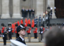 Baroness Thatcher's funeral. London, UK. April 17th, 2013. Policeman lining Baroness Thatcher procession route on Ludgate Hill royalty free stock photos