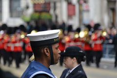 Baroness Thatcher's funeral. London, UK. April 17th, 2013. Soldier lining Baroness Thatcher procession route on Ludgate Hill stock images