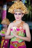 Barong舞蹈演员。 巴厘岛,印度尼西亚 免版税库存照片
