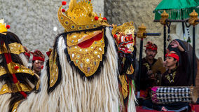 Barong dance in Bali. BALI, INDONESIA - 16TH JUNE 2015; Barong dance is performing by local art performer  in Ubud, Bali, Indonesia Royalty Free Stock Photos