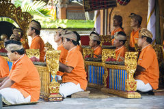 Barong Dance Musicians, Bali, Indonesia. Image of musicians backing up the very impressive Barong Dance performance, showcasing the rich cultural traditions of Royalty Free Stock Photos