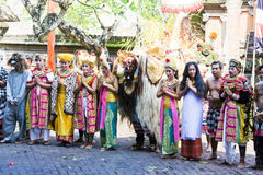 Barong Dancers, Bali, Indonesia. Image of a Barong Dance cast in their Barong attire just after the end of a show posing for photographs at Bali, Indonesia Stock Photography