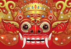 Barong Masque rituel traditionnel de Balinese Illustrat de couleur de vecteur Images stock