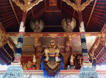 Barong in temple. Barong dancer - balinese religious mask royalty free stock photography