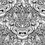 Barong. Traditional ritual Balinese mask. Vector decorative orna Royalty Free Stock Image