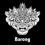 Barong. Traditional ritual Balinese mask. Vector decorative orna. Te outline illustration isolated. Hindu ethnic symbol, tattoo art, yoga, Bali spiritual design Royalty Free Stock Images