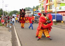 Barongsai at Cultural Festival Manokwari 2017. Traditional Chinese dance called Barongsai on a parade. The dance is performed by two people in a special costume Royalty Free Stock Images