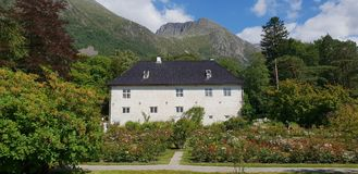Barony Rosendal, Norway. Rose garden between the mountains royalty free stock photography
