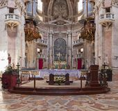 Baroque altar of the Basilica of the Mafra Palace Royalty Free Stock Photo