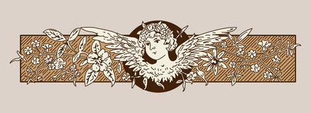 Baroque Angel. Vintage antique baroque angel banner Royalty Free Stock Photo