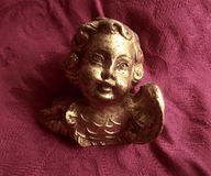 Baroque Angel Antique Arts. Old sculpture, gold with golden figurine Royalty Free Stock Photography