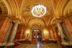 Guided tour at Budapest opera. Baroque architecture and red carpet for Budapest opera. Guided tours in many languages stock photo