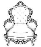 Baroque armchair with luxurious ornaments. Vector French Luxury rich intricate structure. Victorian Royal Style decors. Baroque armchair with luxurious ornaments Royalty Free Stock Photo