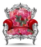 Baroque armchair silver ornament. Vintage furniture rich carved decor. Red roses upholstery Vector illustration. Baroque armchair silver ornament. Vintage Royalty Free Stock Image