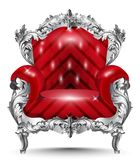 Baroque armchair silver ornament. Vintage furniture rich carved decor. Red upholstery Vector illustrations. Baroque armchair silver ornament. Vintage furniture Royalty Free Stock Photography