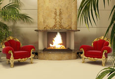 Baroque armchairs with fireplace in royal interior Royalty Free Stock Images