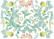 Baroque background with pears Royalty Free Stock Photography