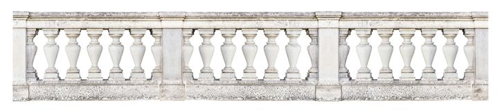 Baroque balustrade isolated on white background. Baroque balustrade at a historic building, isolated on white background Royalty Free Stock Image