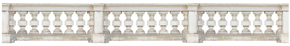 Baroque balustrade isolated on white background. Long baroque balustrade at a historic building, isolated on white background Stock Images