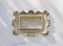 Baroque bas-relief board with inscription Royalty Free Stock Image