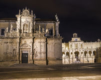 Baroque basilic lecce night Royalty Free Stock Image