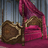 Baroque bed. Vintage bedroom with a fancy baroque bed Royalty Free Stock Photos