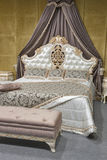 Baroque bedroom. Baroque style bedroom interior in beige colors Stock Photo