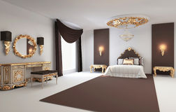 Baroque bedroom with golden furniture interior Royalty Free Stock Photos