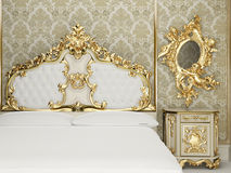 Baroque bedroom suite in royal interior. Old styled interior. Golden goods. Luxurious apartment Royalty Free Illustration