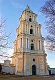 Baroque bell tower. Antique stone baroque bell tower in Ukraine Royalty Free Stock Images