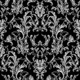 Baroque black white seamless pattern. Luxury floral background w. Allpaper with damask flowers, scroll leaves,  and antique Baroque ornaments in Victorian style Royalty Free Stock Photos