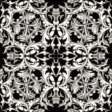 Baroque black and white vector seamless pattern. Damask floral b. Ackground.Ornate decorative antique baroque ornaments in Victorian style. Ornate flowers stock illustration