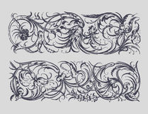 Baroque Borders. Baroque style borders in gray tones stock illustration