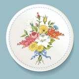 Baroque Bouquet of wildflowers on white plate Stock Photo