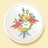Baroque Bouquet of wildflowers on white plate Royalty Free Stock Photo