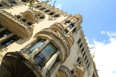 Baroque building facade in Barcelona, Spain. Detailed stonework detailing on facade of Baroque building in Barcelona, Spain stock image